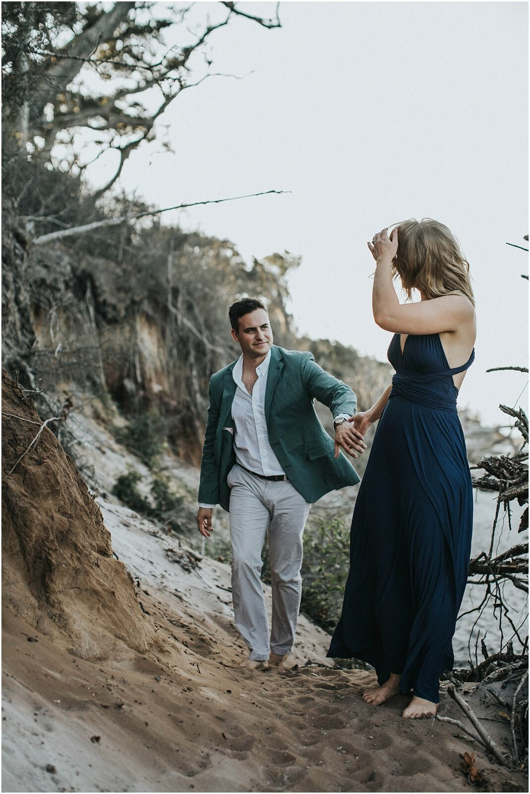 driftwood beach engagement