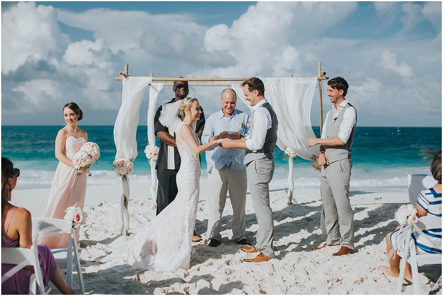 intimate exuma beach wedding