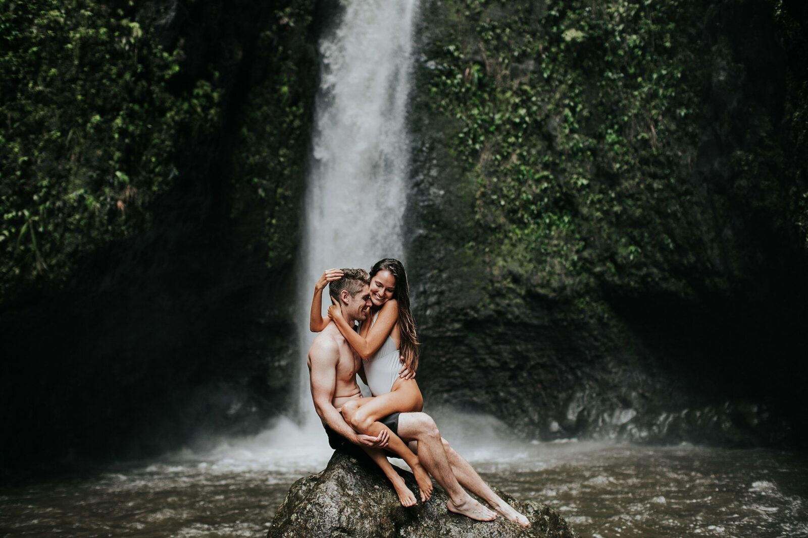 adventure session at a waterfall
