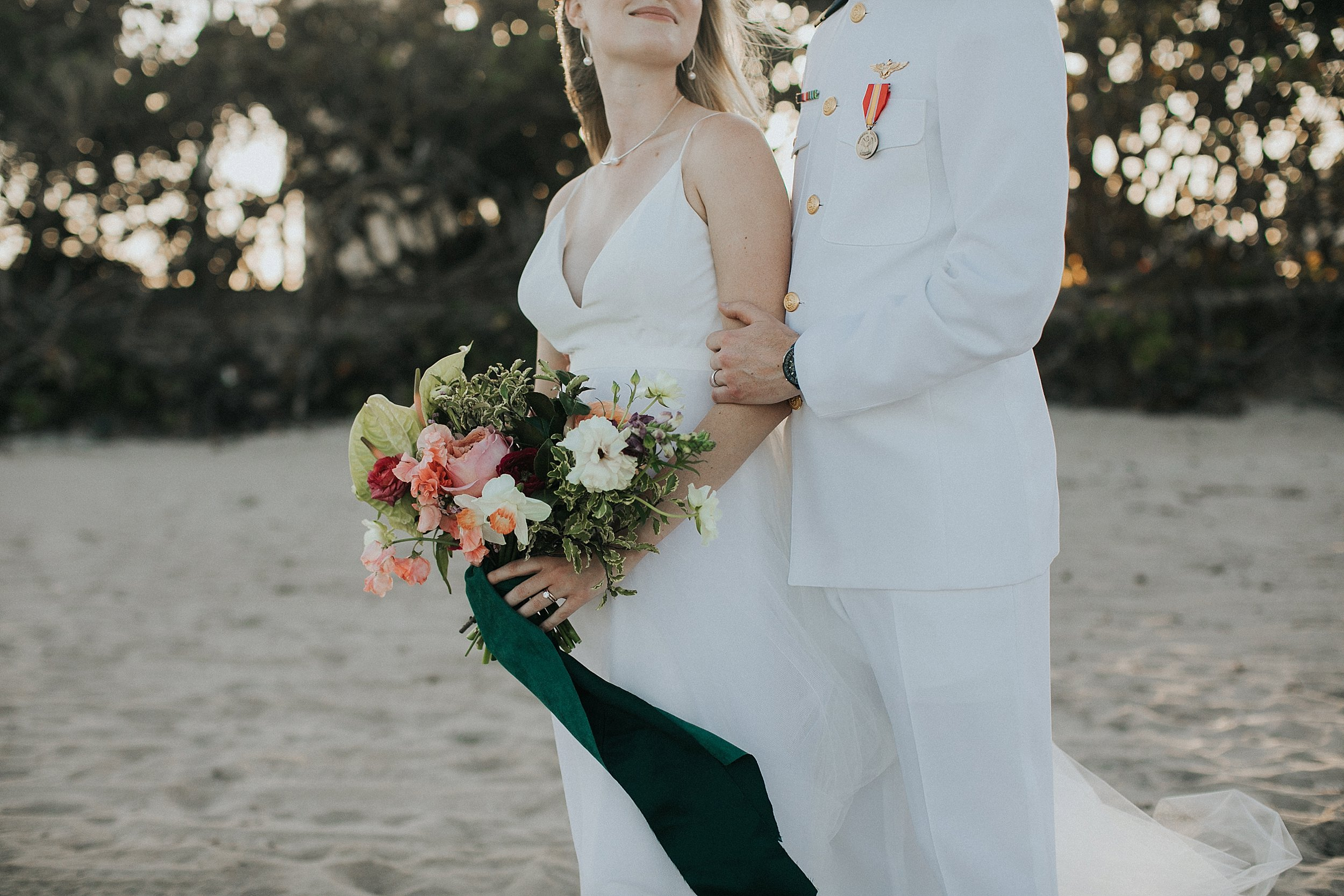 tropical beach wedding florals