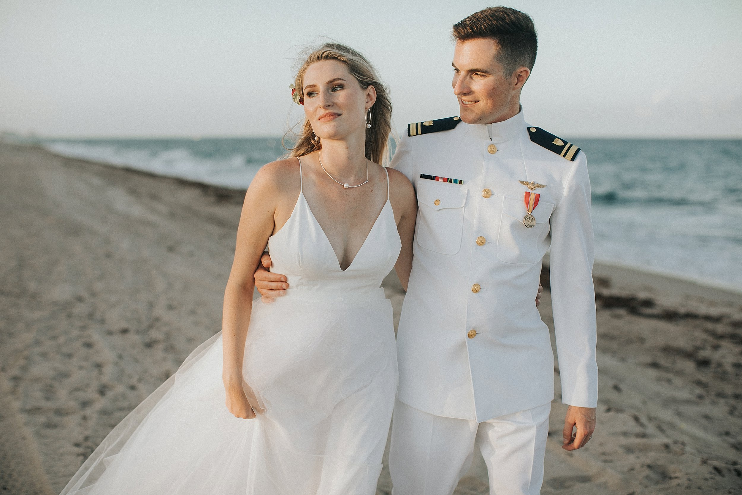 sunset beach wedding portraits