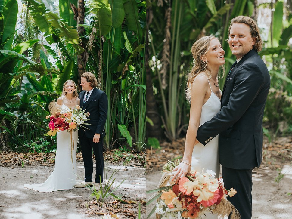bride and groom portraits at the bonnet house