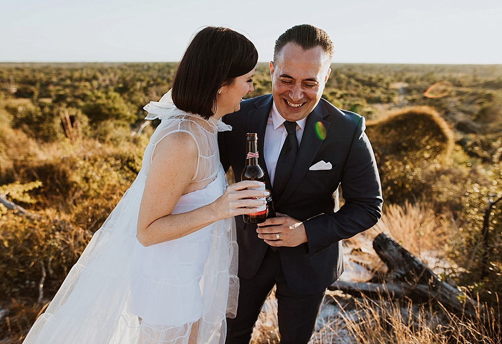happy couple on their elopement day