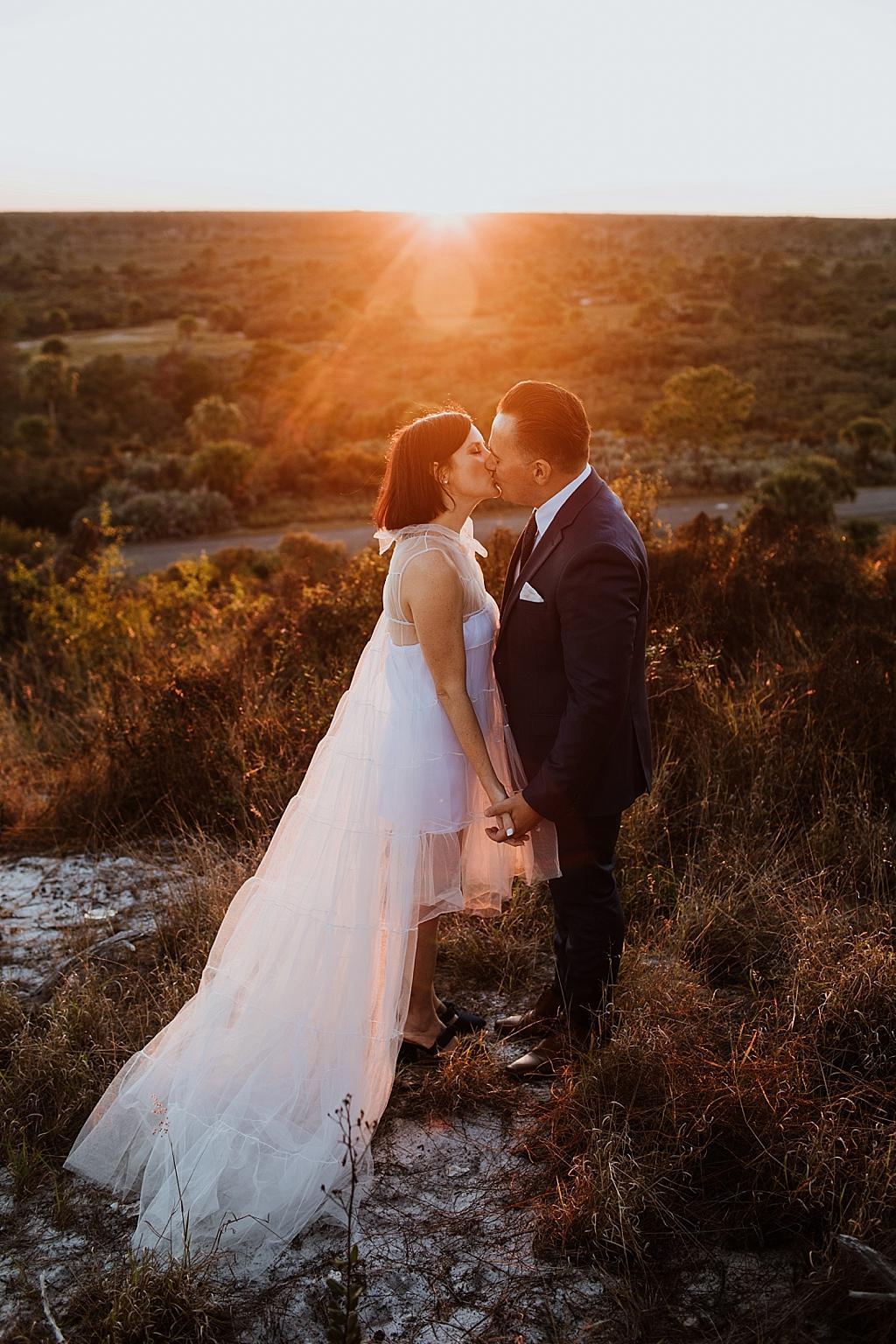 romantic sunset bride and groom portraits