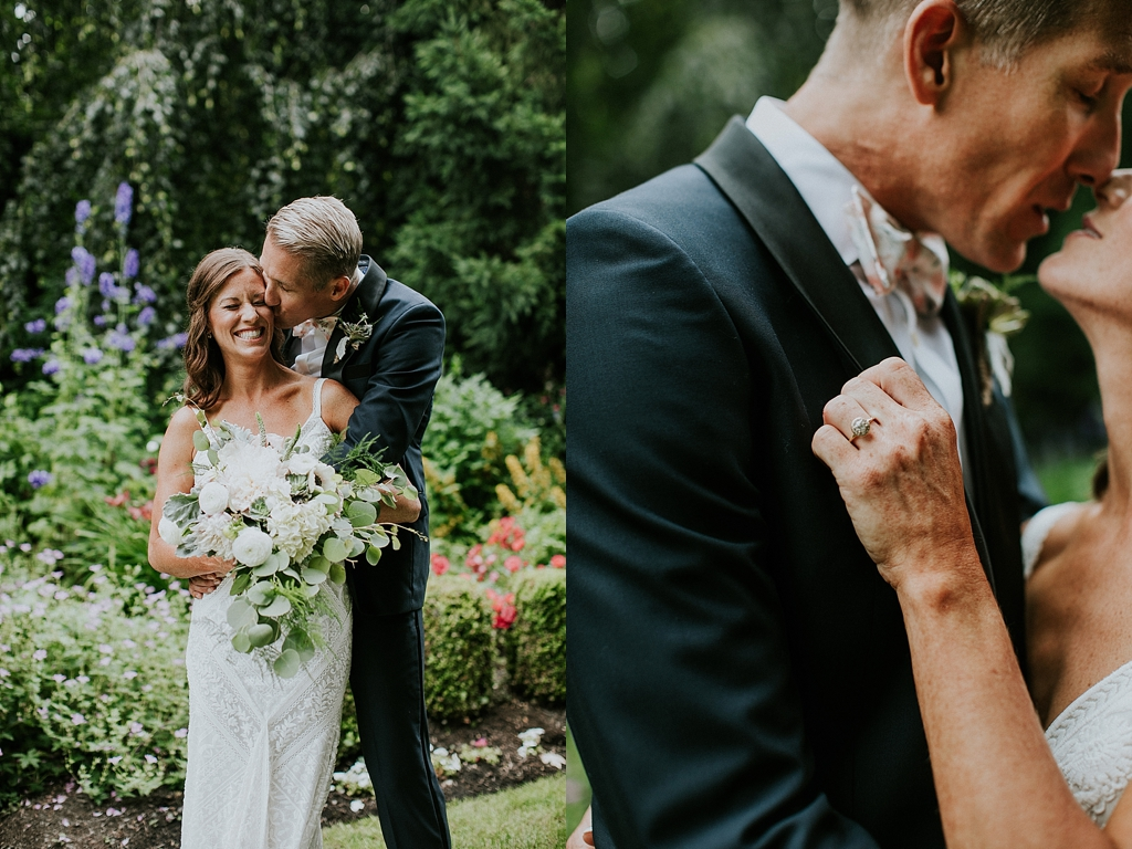 bride and groom portraits in a garden