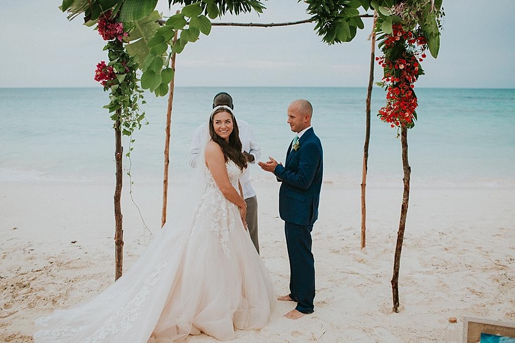 beach elopement in the bahamas