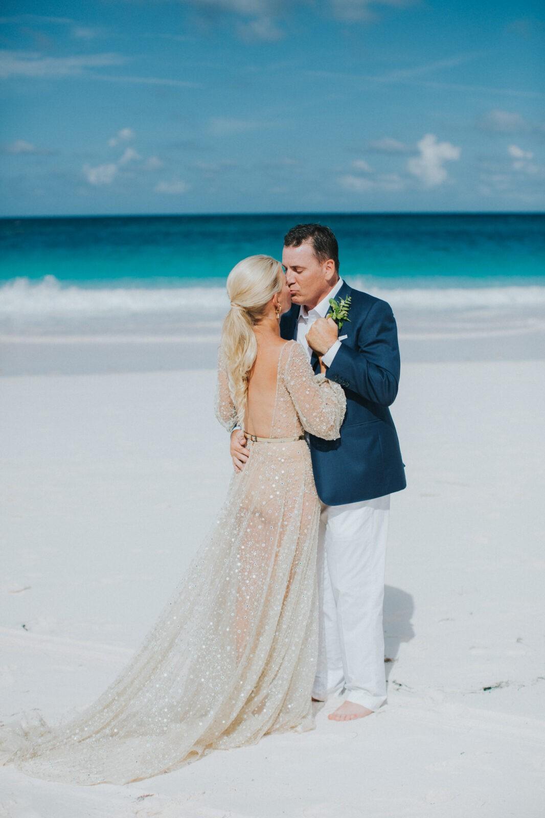 pink sand beach wedding
