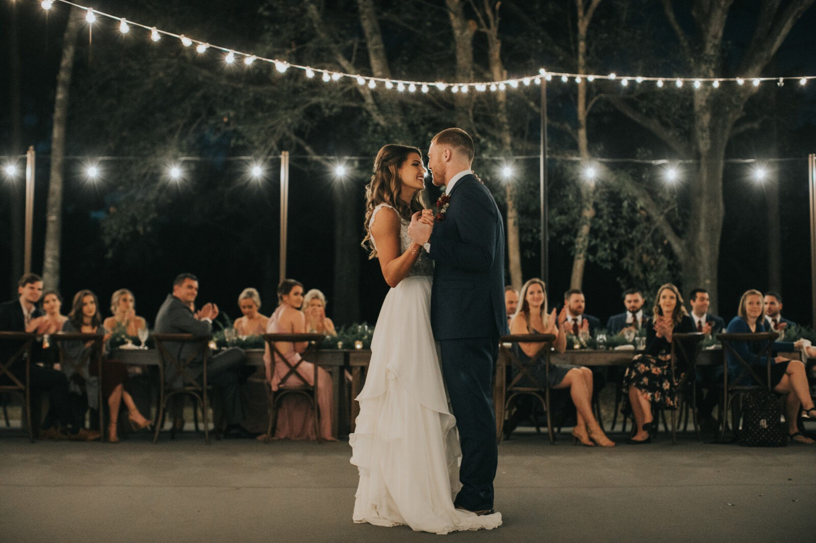 romantic wedding reception lighting