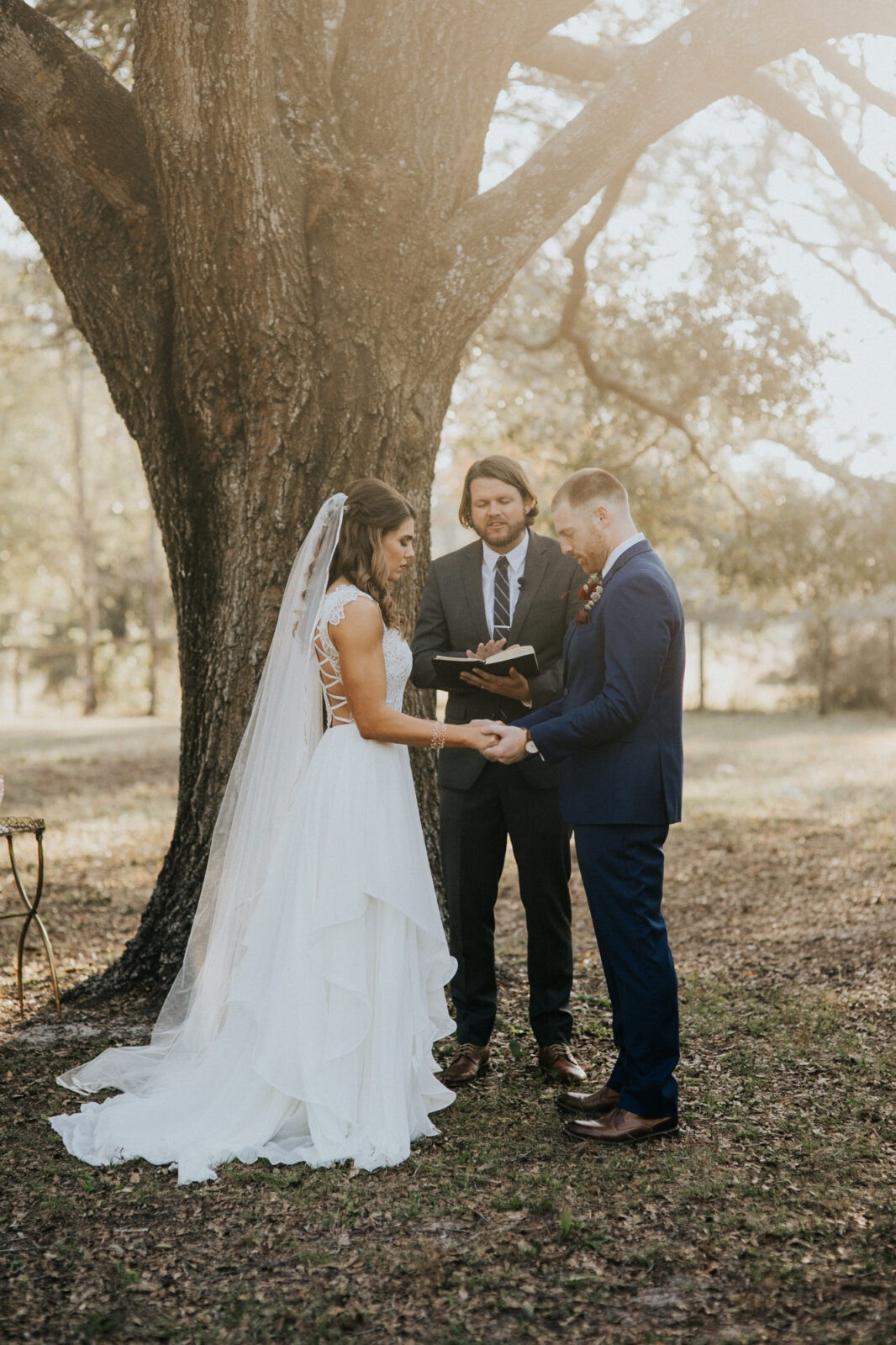 wedding under an oak tree