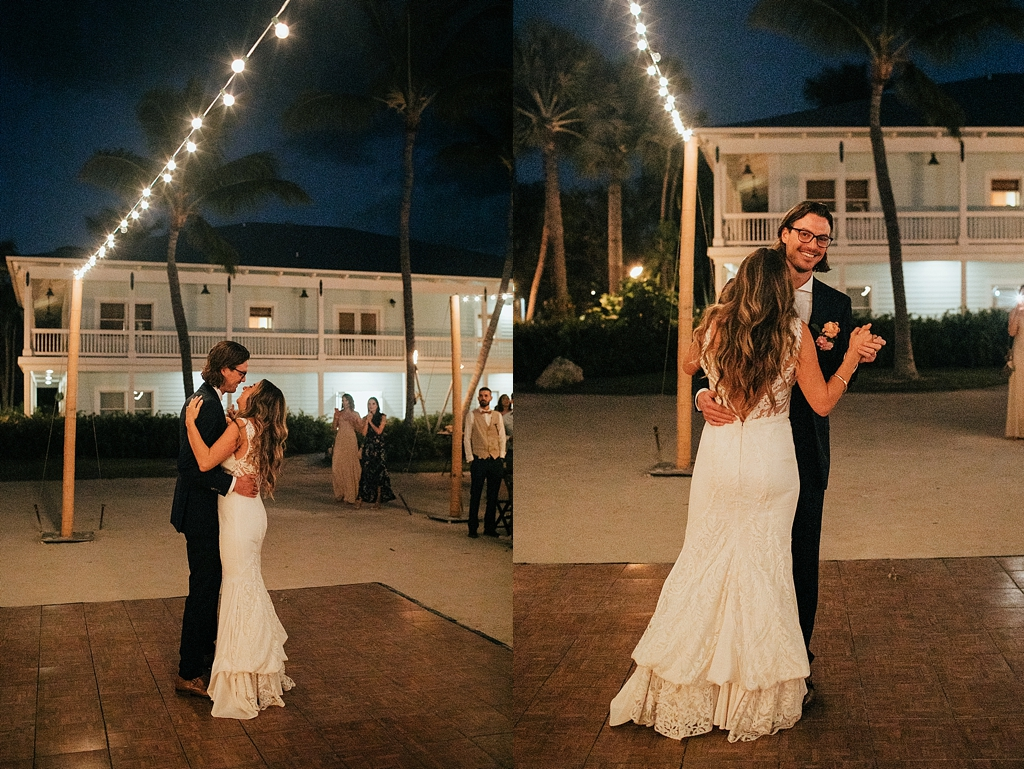 bride and groom first dance underneath the stars