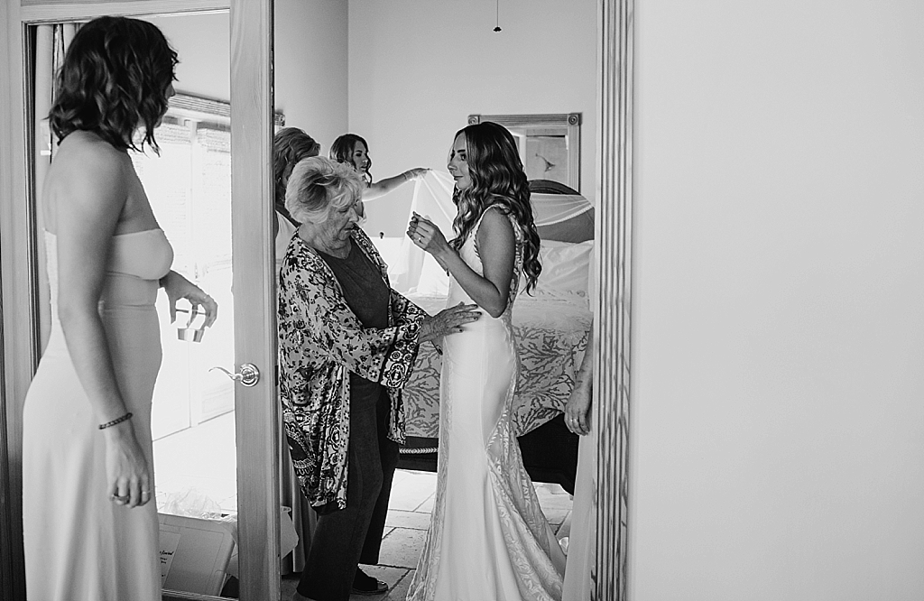 bride getting ready for her wedding in the keys