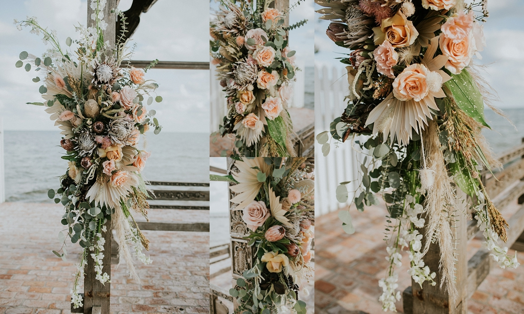 dried flowers for a wedding arch