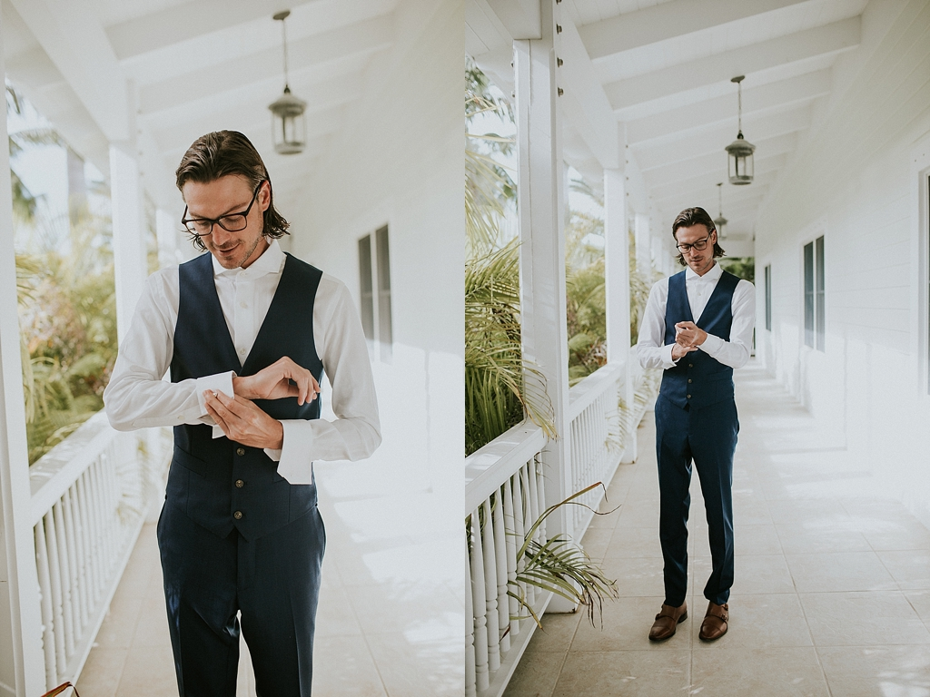 groom getting ready on the front porch in islamorada florida