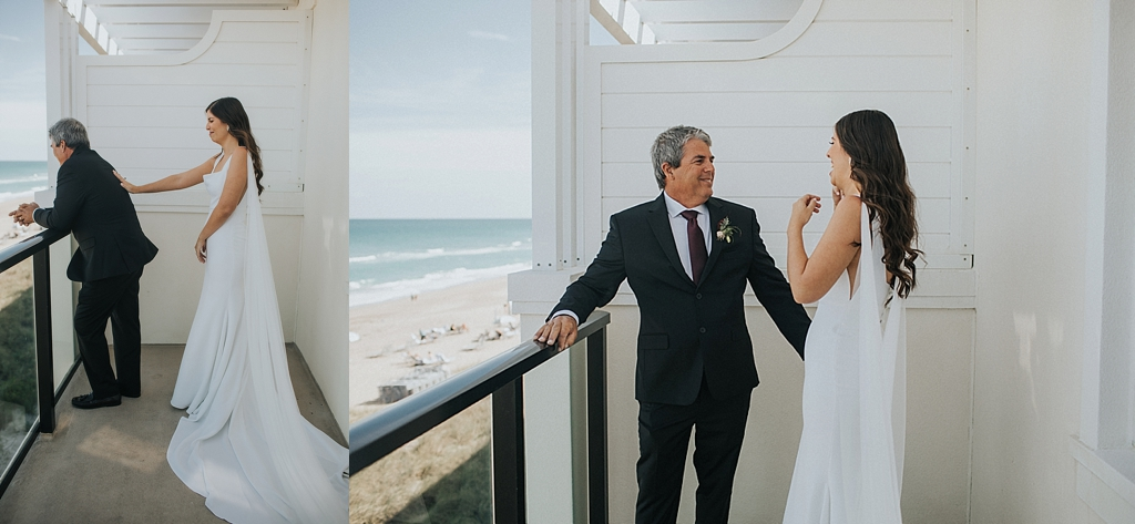 father of the bride see's his daughter for the first time in her dress